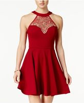 B. Darlin Juniors' Embellished Illusion Fit and Flare Dress, a Macy's Exclusive Style