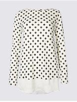 M&S Collection Geometric Print Mock Hem Split Sleeve Tunic