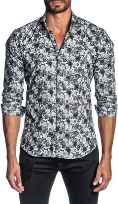 Jared Lang Trim Fit Floral Button-Up Shirt
