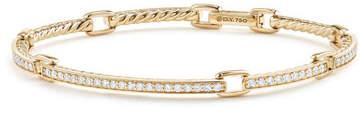 David Yurman Petite Pavé Diamond Link Bracelet in 18k Yellow Gold, Size Large