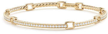 David Yurman Petite Pave Diamond Link Bracelet in 18k Yellow Gold, Size Large