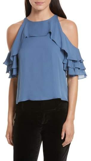 Alice + Olivia Idalla Cold Shoulder Ruffle Silk Blouse