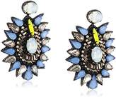 Deepa Gurnani Hand Embroidered Faceted Gunmetal, Blue Crystals and Beads with Large Cluster Design Leather on Reverse Earrings