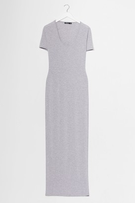 Nasty Gal Womens This One's on Tee Maxi Dress - Light Grey
