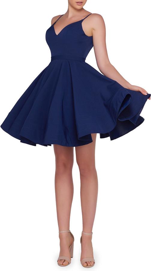 Mac Duggal V-Neck Spaghetti-Strap Fit-and-Flare Mini Dress