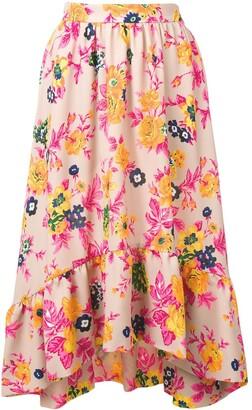 MSGM Asymmetric Floral Print Skirt