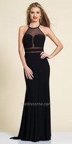 Dave and Johnny Grecian Illusion Panel Fit and Flare Evening Dress