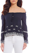 Band of Gypsies Embroidered Off-the-Shoulder Bell Sleeve Top