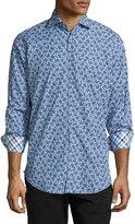 Neiman Marcus Poplin Long-Sleeve Printed Sport Shirt, Cobalt