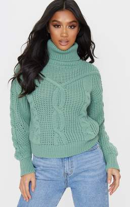 PrettyLittleThing Petite Sage Green Roll Neck Knitted Long Sleeve Jumper