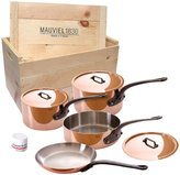 Mauviel M'150C - 7pc Copper Cookware Set with Cast Iron Handles with Wooden Crate - (6410.21, 6410.17, 6411.25, 6413.26, 2700.20)