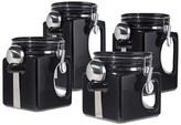 Oggi 4 Piece EZ Grip Airtight Ceramic Canisters with Stainless Steel Spoons - Black