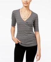 Ultra Flirt Juniors' Striped Surplice T-Shirt