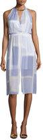 Halston Sleeveless V-Neck Printed Dress, Iris Color