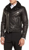 Burberry Leather Shearling Fur-Lined Moto Jacket, Black