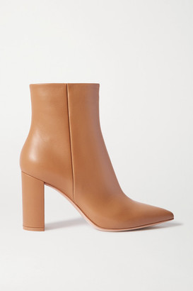 Gianvito Rossi Piper 85 Leather Ankle Boots - Beige
