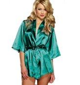 Fakeface Sexy Satin Lace Kimono Robe Babydoll Chemise Lingerie Nightgown Sleepwear Set