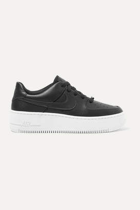 Nike Air Force 1 Sage Textured-leather Sneakers - Black