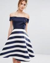 Oasis Satin Stripe Bardot Dress