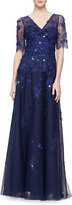 Rickie Freeman For Teri Jon Short-Sleeve V-Neck Beaded Gown, Royal