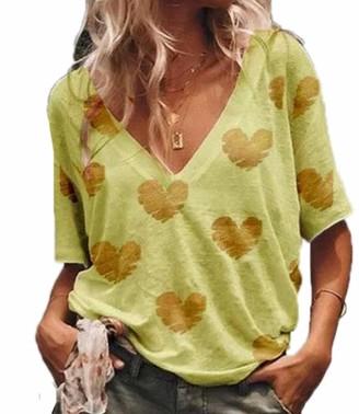 hellomiko Womens T Shirt - Women's Ladies V-Neck Short-Sleeve T-Shirt Ladies Summer Tops Heart Patterned Yellow