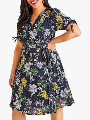 Yumi Curves Crossover Floral Dress, Navy