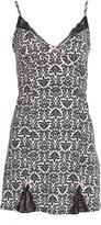 Black & White Damask Lace-Trim Nightgown