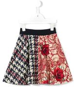 MonnaLisa houndstooth paisley contrast skirt - kids - Polyester/Spandex/Elastane - 4 yrs