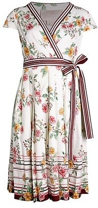 Gal Meets Glam Floral Pleated A-Line Wrap Dress