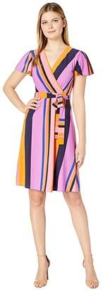 Donna Morgan Cap Sleeve Stripe Print Wrap Dress (Perry Navy Multi) Women's Dress
