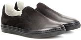 Maison Margiela Metallic Suede Slip-on Sneakers