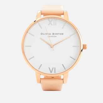 Olivia Burton Women's White Dial Big Dial Watch - Nude Peach and Rose Gold