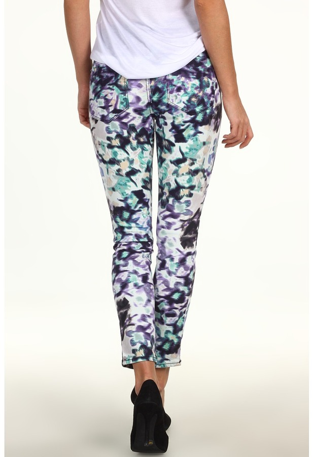 DKNY Mystic Floral Jegging w/ Colorblocked Waist (Heron Navy) - Apparel