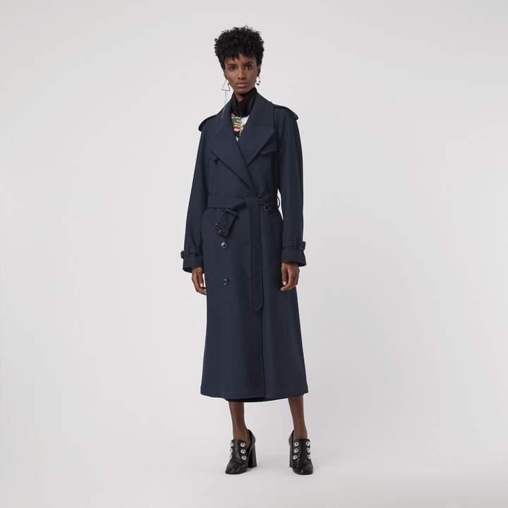 Burberry Herringbone Wool Blend Trench Coat