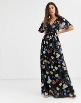 Little Mistress floral kimono maxi dress