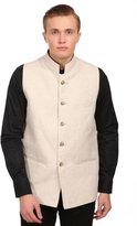 Wintage Men's 100% Linen Grandad Collar Festive Nehru Jacket Vest Waist...
