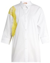 No.21 NO. 21 Tulle-panel point-collar cotton shirt