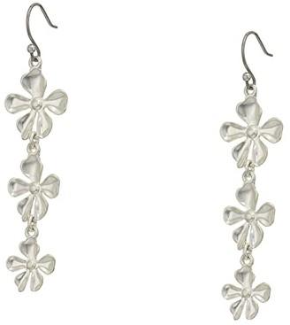 Lucky Brand Multi Floral Drop Earrings (Silver) Earring