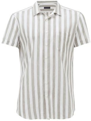 Thom Sweeney - Short-sleeved Striped Linen-blend Shirt - Mens - Green