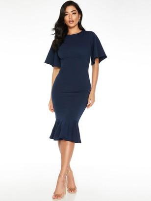 Quiz Fluted Sleeve Midi Dress - Navy
