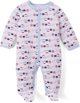 White & Blue Train Quilted Footie