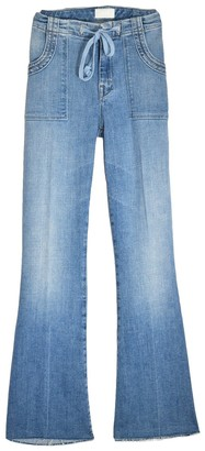 Mother Tie Patch Weekender Ankle Fray Jean in Camp Expert