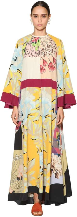 Etro LONG PRINTED SILK TWILL DRESS