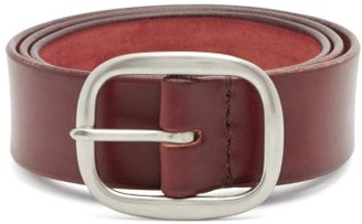 Maximum Henry Wide Patinated-leather Belt - Burgundy
