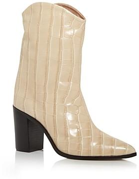 Schutz Women's Vonna Croc Embossed High Block Heel Booties