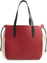 Marni Colorblock Gusset Leather & Canvas Tote