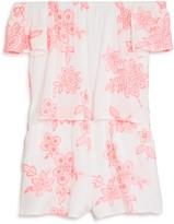 Aqua Girls' Embroidered Romper, Big Kid - 100% Exclusive