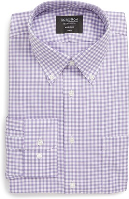 Nordstrom Trim Fit Non-Iron Gingham Button-Down Dress Shirt