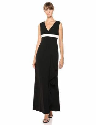 Calvin Klein Women's Sleeveless V-Neck Gown with Ruffle Dress