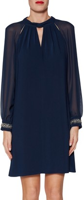 Gina Bacconi Israella Dress With Cuff Details, Navy